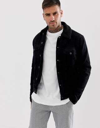 New Look corduroy jacket with fleece lining in black