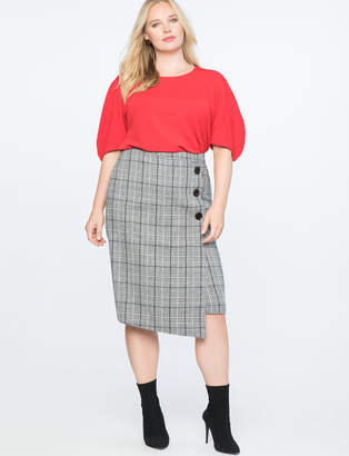 Button Front Wrap Column Skirt