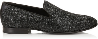 Jimmy Choo THAME Black Coarse Glitter Fabric Slipper