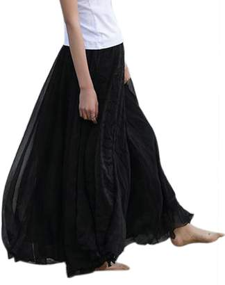 Aivtalk Women Boho Skirt Pleated Full Length Summer Beach Dress Peasant SkirtS