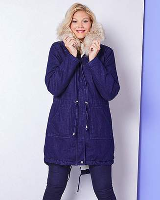 Fashion World Luxe Fur Lined Denim Parka