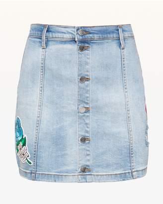 Juicy Couture JXJC Tattoo Patch Denim Skirt