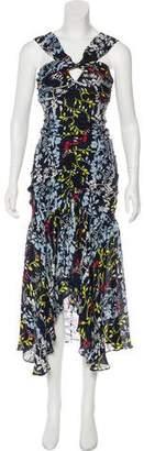 Tanya Taylor Silk Floral Midi Dress