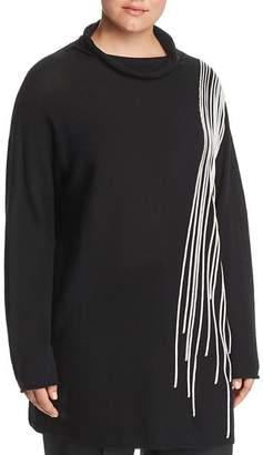 Marina Rinaldi Aurora Asymmetric Stripe Wool Sweater