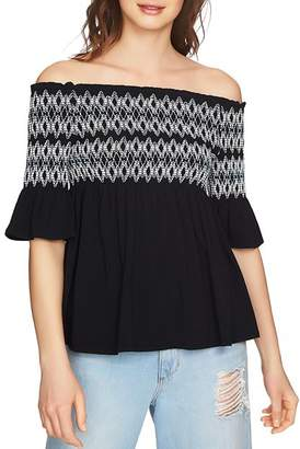 1 STATE 1.STATE Smocked Embroidered Off-the-Shoulder Top
