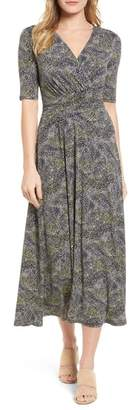 Chaus Ruched Speckle Midi Dress
