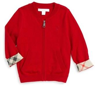 Toddler Boy's Burberry 'Mini Jaxson' Front Zip Cotton Cardigan $120 thestylecure.com
