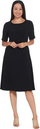 Dennis Basso Caviar Crepe Elbow-Sleeve Dress with Beaded Trim