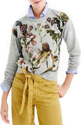 J.Crew Floral Patch Botanical Sweatshirt $98 thestylecure.com