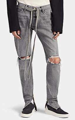 Fear Of God Men's Distressed Belted Slim Jeans - Gray