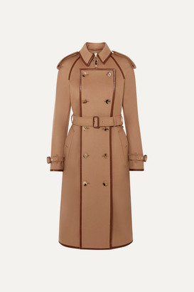 Burberry Convertible Leather-trimmed Wool And Cashmere-blend Trench Coat - Beige