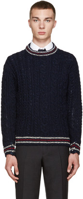 Thom Browne Navy Cable Knit Sweater $450 thestylecure.com