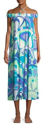 Emilio Pucci Off-the-Shoulder Printed Jersey Maxi Dress