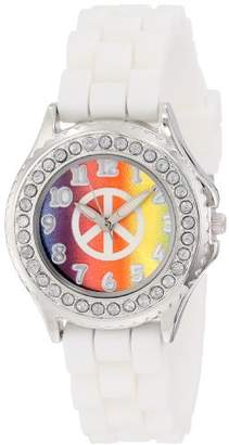 Frenzy Kids' FR782 Rhinestone-Accented Watch with White Rubber Band