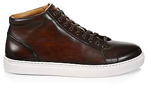 Saks Fifth Avenue BY MAGNANNI Burnished Leather Lace-Up High-Top Sneakers