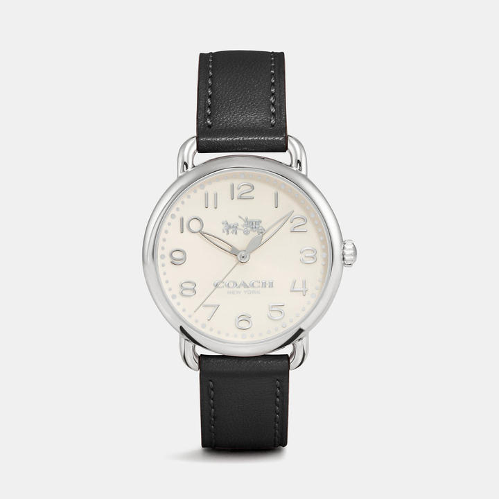 Coach  COACH Coach Delancey Stainless Steel Sunray Dial Leather Strap Watch