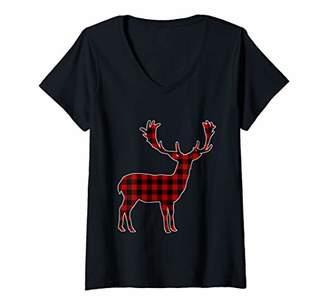 Buffalo David Bitton Womens Red & Black Plaid Reindeer Silhouette Cute V-Neck T-Shirt