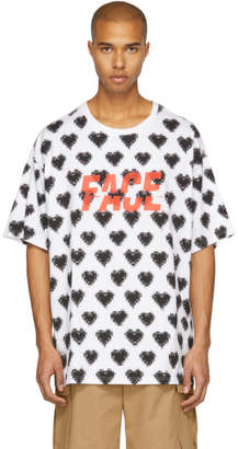 Facetasm White and Black Oversized Heart Face T-Shirt