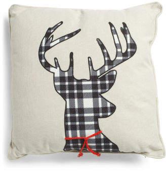 20x20 Faux Linen Plaid Deer Pillow
