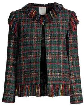 Sandro Fringed Tweed Check Jacket