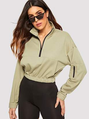 Shein Zip Half Placket Pocket Front Sweatshirt