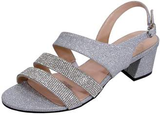 FLORAL Dorothy Women Extra Wide Width Chic Rhinestone Straps Dressy Party Heeled Sandals 6