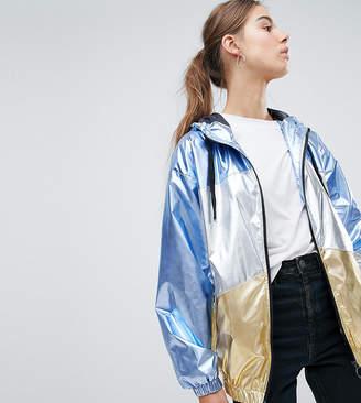 Asos Tall DESIGN Tall metallic panel rain jacket