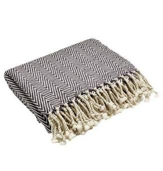 Mela Artisans Caress Silk Throw in Grey & White