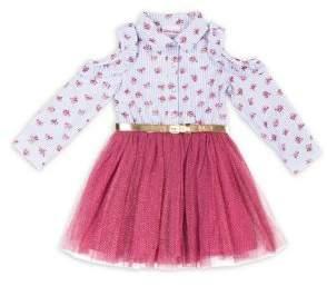 Little Lass Little Girl's Floral-Print Tulle Dress
