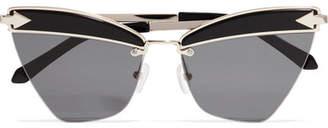 Karen Walker Sadie Cat-eye Acetate And Gold-tone Sunglasses - Black