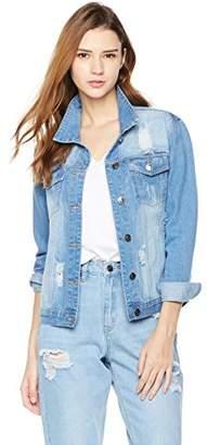 Parker Lily Women's Distressed Button Front Stretch Denim Jacket