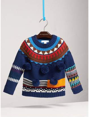 Burberry Pom-pom Fair Isle Wool Cashmere Sweater