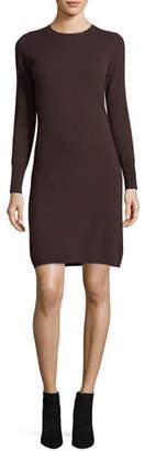 Neiman Marcus Long-Sleeve Crewneck Cashmere Dress, Plus Size