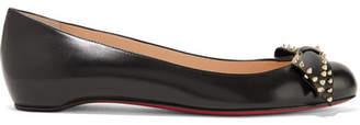 Christian Louboutin - Ballalarina Bow-embellished Leather Flats - Black $695 thestylecure.com