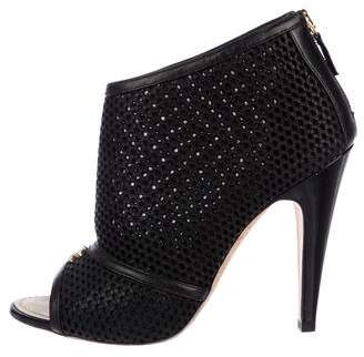 Chanel CC Mesh Peep-Toe Booties