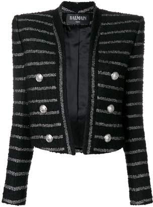 Balmain open front stripped jacket