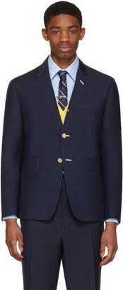 Thom Browne Navy Classic Trompe L'Oeil Blazer $2,600 thestylecure.com