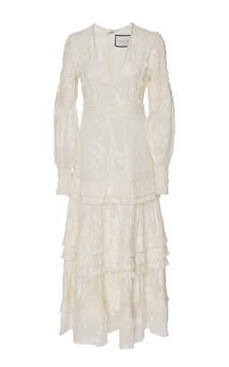 Alexis Gallinda Tiered Linen And Silk Blend Midi Dress Size: XL