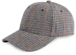 ETEREO Wool-Blend Plaid Baseball Cap