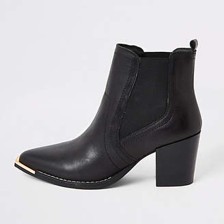 River Island Black leather western chelsea boots