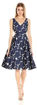 Adrianna Papell Women's Jaquard Deep V-Neck Dress
