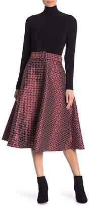 Champagne & Strawberry Geo Printed Midi Skirt