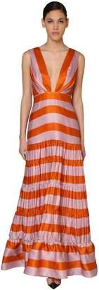 Johanna Ortiz STRIPED ORGANZA DRESS W/PLEATS & RUFFLES