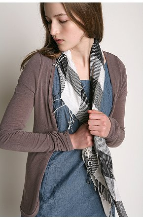 Checkered Square Scarf With Lurex