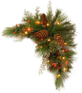 """National Tree Company 30"""" Decorative Collection White Pine Corner Swag with 63 Soft white and Red Led Battery Operated Lights"""