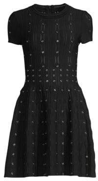 The Kooples Grommet Laser Cut Smocked Fit-&-Flare Dress