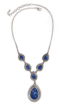 Carol Dauplaise STUDIO BY CAROL Studio By Silver-Tone Dark Blue Pear Y-Necklace