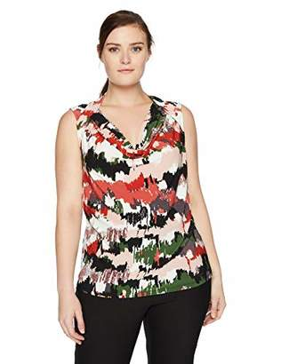 Nine West Women's Plus Size Cap Sleeve Cowl Neck Printed ITY
