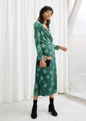 And other stories Floral Velour Wrap Dress