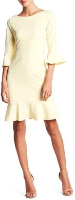Betsey Johnson Bell Sleeve Scuba Crepe Dress